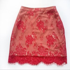 NWT NBD Red Lace Skirt